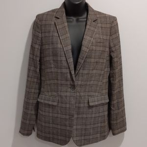 Banana Republic wool brown plaid blazer sz 8